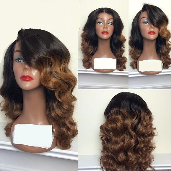Two Tone Lace Front Wig Peruvian Remy Hair 150 Density Ombre Color Side Part Natural Wave Human Hair Wig for Black Women