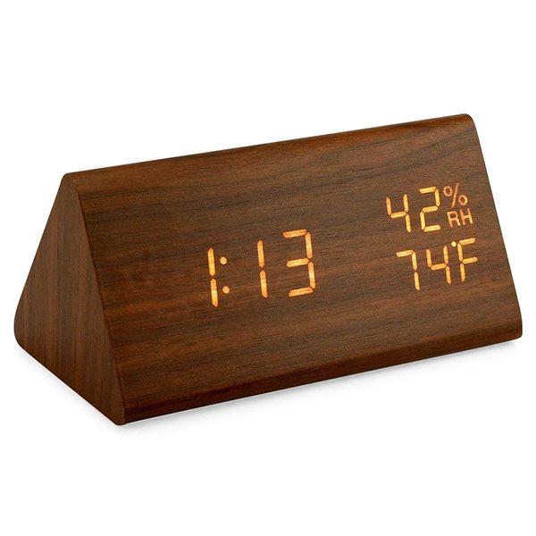 Creative Desk Table Clock Home Office Wood Style Voice Control Portable LED Voice Control Alarm Clock Temperature Calendar