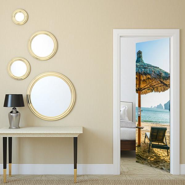 Acquista Simulazione 3D Adesivo Porte Spiaggia Di Sabbia Ombrellone  Paesaggio Decalcomania Da Muro Soggiorno Camera Da Letto Carta Da Parati  Creativa ...