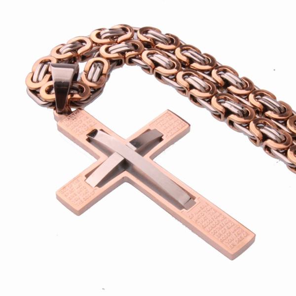 Neue Modeschmuck Rose Gold Kreuz Anhänger Halskette Männliches Geschenk Trendy Edelstahl 6mm Thick Link Byzantinische Kette