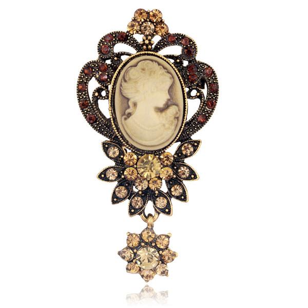 Moda antiga cor de prata de ouro do vintage broche pinos feminino jóias rainha cameo broches strass para mulheres presente de natal