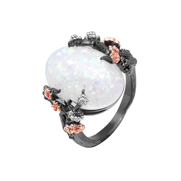 Beautiful Tree & Flower Ring Jewelry Black Gold Filled Romantic CZ Big White Fire Opal Ring Women Dropshipping Bands Finger Ring