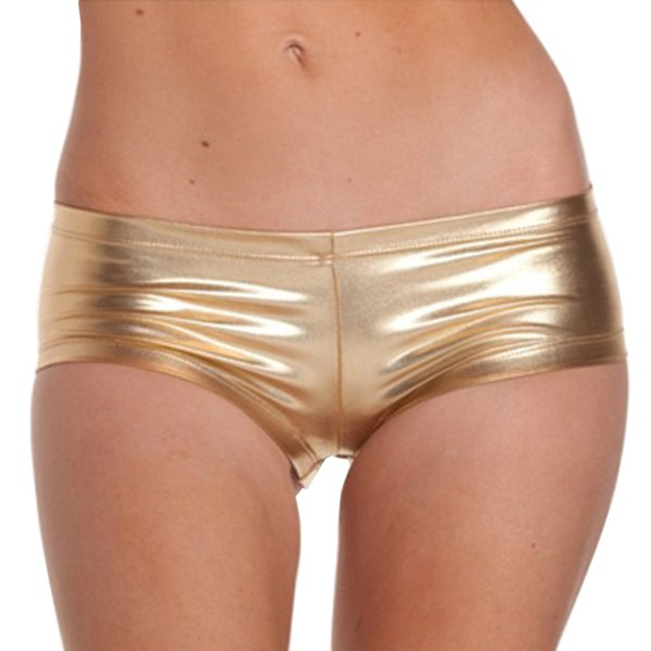 Womens Low Waisted Sexy Metallic Rave Dance Shorts Shiny Dance Shorts Gold Red Sexy Mini pole