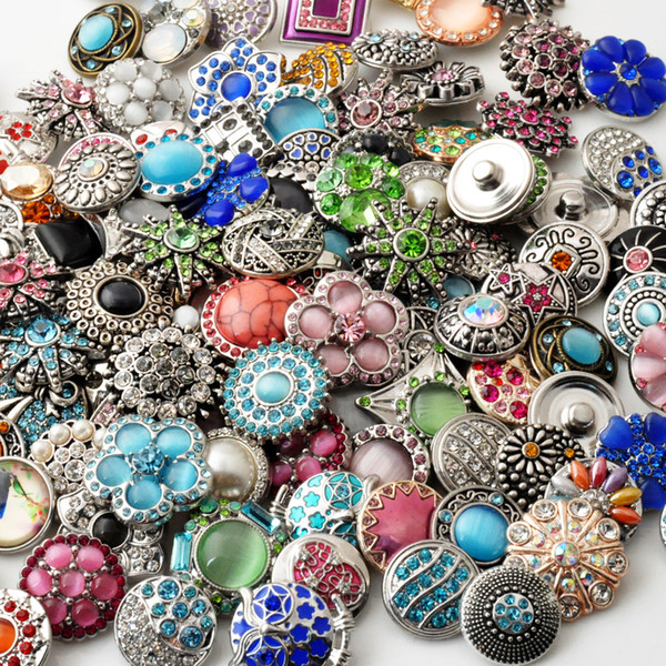 Snaps Button Jewelry 50pcs/lot Mix styles 18mm Rhinestone Metal Snap Button Charm Fit Bracelets NOOSA chunk