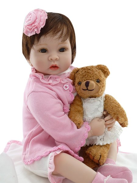 "22"" girl doll reborn soft silicone reborn babies with bear doll fashion children gift dolls toys bebes bonecas menina"