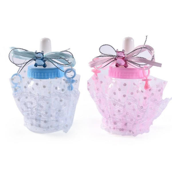 Cute Baby Shower Feeding Bottle Candy Box Christening Gift Bear Blue Boy Pink Girl Decorations Party Supplies Wedding Favors Candles Wedding Favors