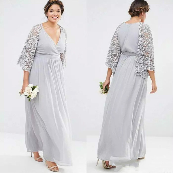 Silver Chiffon Lace Mother Of The Bride Dresses V Neck A Line Long Sleeves Mother of the Groom Dress Long Wedding Guest Dresses