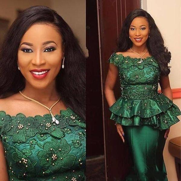 2018 Dark Green Mermaid Peplum Prom Vestidos Bateau Con cuentas vestidos de noche Apliques Personalizado Piso Longitud desfile vestidos de fiesta