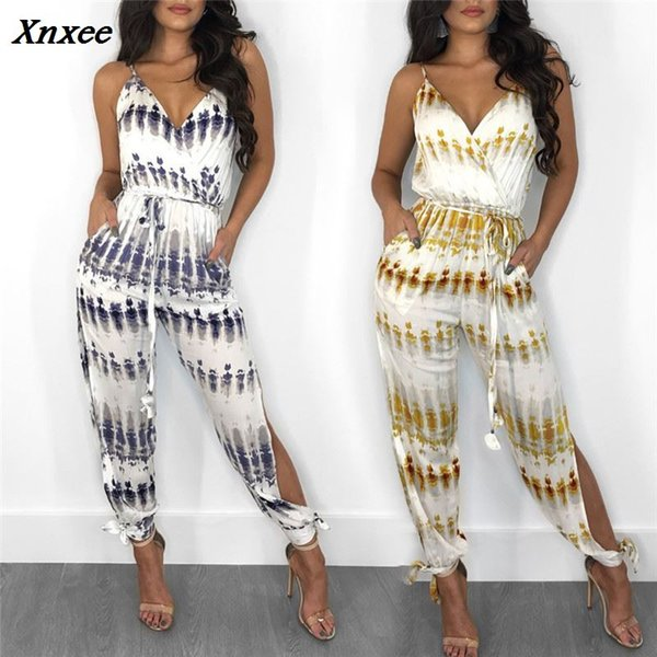 2018 sexy bodysuit tracksuit rompers womens jumpsuit sleeveless print slim casual loose wide leg pant overalls combinaison femme