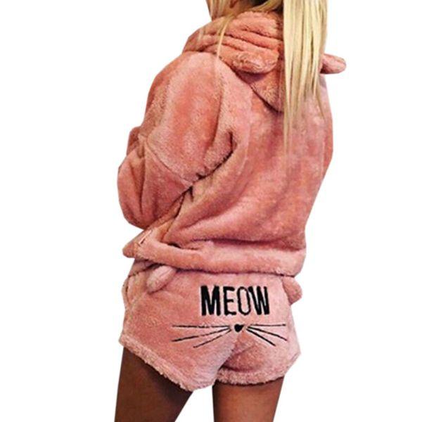 Due pezzi da donna Autunno Inverno Set pigiama caldo in velluto corallo Sleepwear Cute Cat Pattern con cappuccio Shorts Out Fit