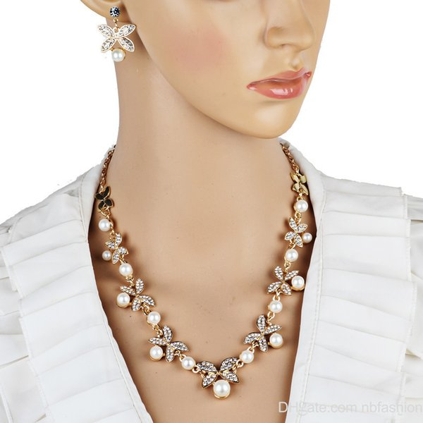 Wish A Pin Korean Pearl Butterfly Necklace Earrings Bride Jewelry Suit Bride Ornaments