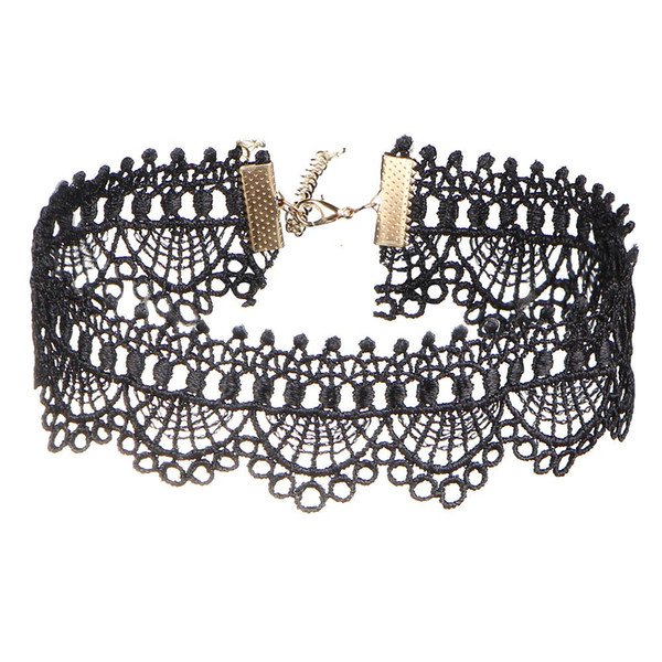Black Sexy Lace Short Tattoo Choker Necklaces Hollow Steampunk Necklace Collares For Women Party Gothic Jewelry