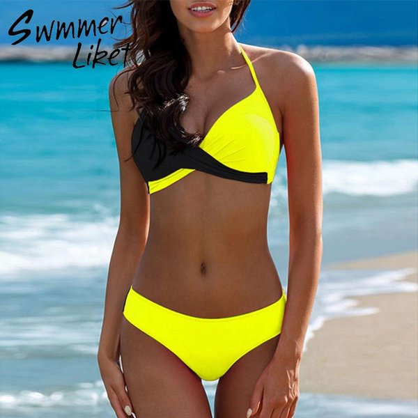 Sutiã acolchoado biquínis 2018 mulher Halter sexy swimsuit feminino Push up plus size swimwear Amarelo micro biquíni Maiô mulheres xxxl