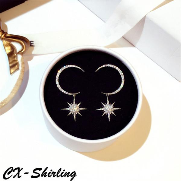 CX-Shirling Nouvelle Conception Sun Moon Boucles D'oreilles Qualité Complète En Cristal Anti-Allergie Robe All Match Boucles D'oreilles Femelle