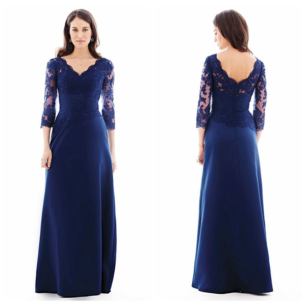 Modest V-neck Mother's Party Dress with 3/4 Sleeves Royal Blue Chiffon Mother of the Bride Dress