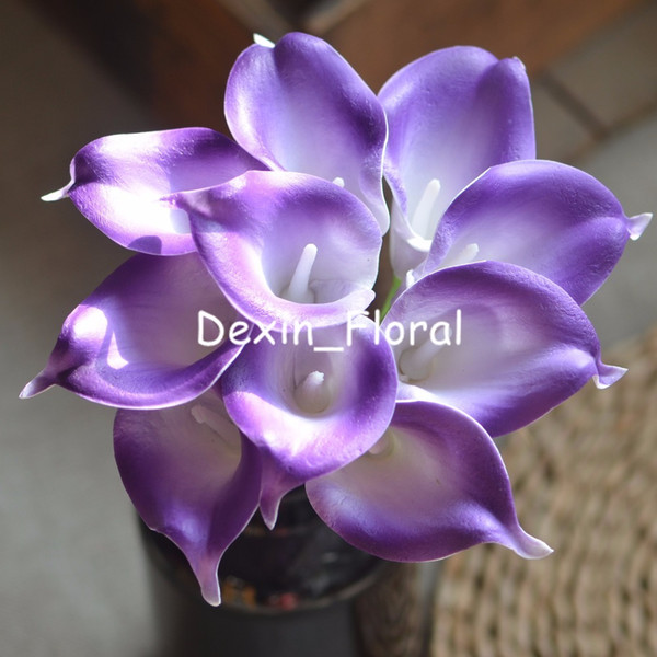 Purple White Calla Lilies Real Touch Flowers For Silk Wedding Bouquets, Centerpieces, Wedding Decorations Artificial calla lily