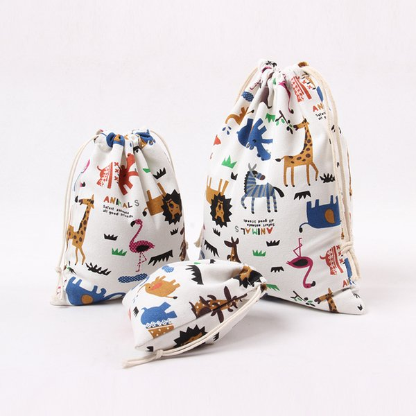 IN Stock!!! Christmas Gift Bag Pure Cotton Canvas Drawstring Sack Bags With Xmas Deer Horse Elephant Animal Design For Gifts Candy
