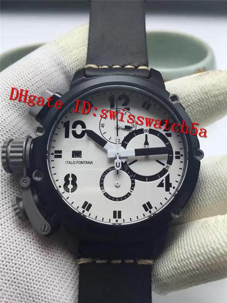 New Luxury Brand U-51 Watch Quartz Mechanical Chronograph Movement Sapphire Crystal Ceramic Case Brown Leather Strap Luminous Men Watch