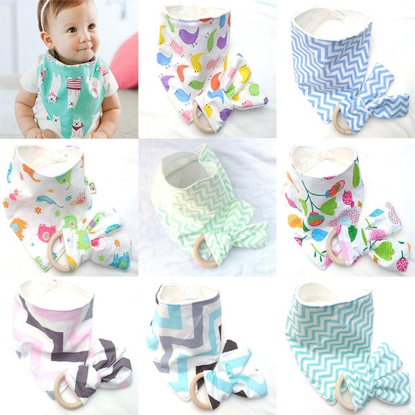 10 Styles Baby Bibs+Teeth Stick 2pcs/set Cotton bamboo fiber Infant Wave pattern Burp Cloths Teething Ring Wooden Teething Training C4423