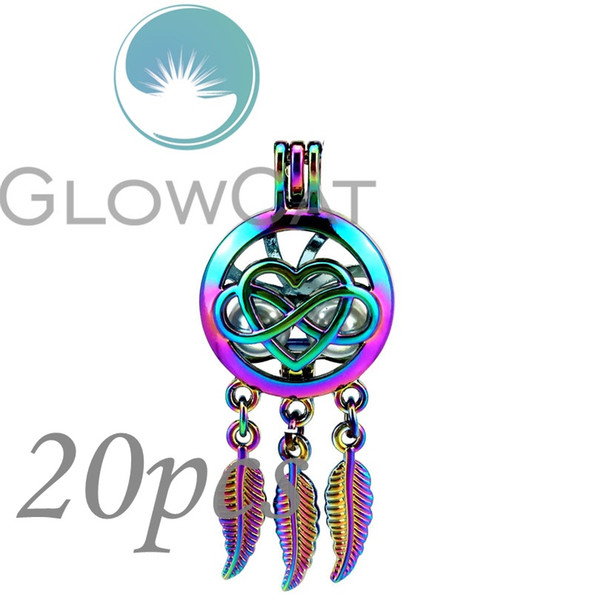 20X CC791 Rainbow Color Dream Catcher Heart Infinity 8 Beads Cage Essential Oil Diffuser Oyster Pearl Cage Locket Pendant