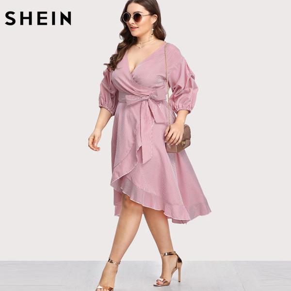 2019 SHEIN Pink Plus Size Striped Dress V Neck Women Dress Lantern Sleeve  Ruffle Trim Pinstripe Large Sizes Vacation Red From Salom, $36.4 | ...