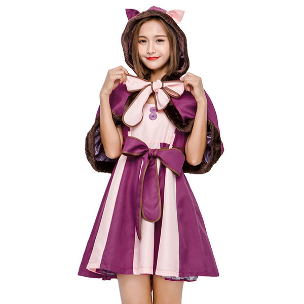 Christmas Fancy Dress Kids.Alice In Wonderland Cosplay Cheshire Cat Dresses Cosplay Christmas Fancy Dress Kids Girls Children Women Adult Dress Themes Funny Family Halloween
