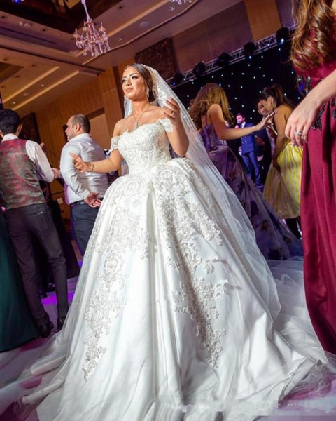 2018 Luxury Arabic Princess Ball Gown Wedding Dresses from China Off Shoulder Lace Applique Vintage Plus Size Wedding Bridal Gowns Backless