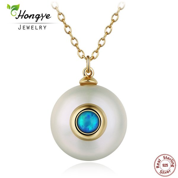 Hongye 2017 New Fashion Simple Pearl Necklace Women 925 Sterling Silver Chain 12 mm Pearl Pendant Jewelry Necklace For Gift Y18102910