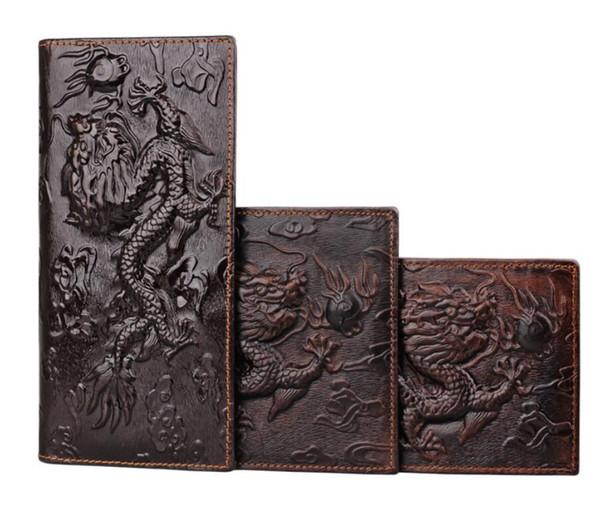 Men's wallet Men's long Genuine Leather clutch bag Retro Handmade Men Wallets Purse with Coin Pocket Zipper Travel Wallet