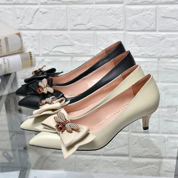 Top Quality Letter Pearl Bee Bow Metal Buckle Pointed Low Heel shoes Genuine leather Woman Dress Shoes With Box