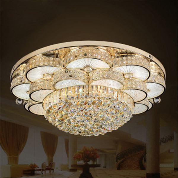 Großhandel Goldene Led Europäischen Kristall Decke Kreisförmige Kristall  Lampe Wohnzimmer Villa Atmosphäre Schlafzimmer Lampe Esszimmer Lampen Von  ...
