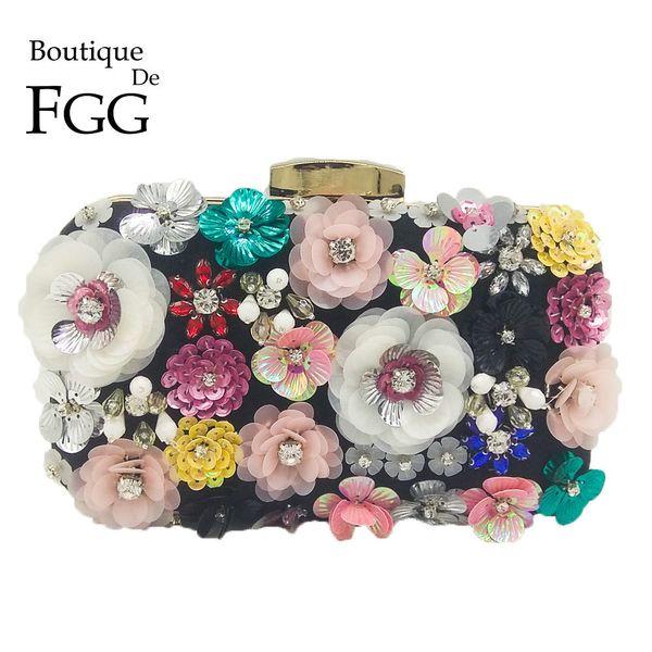 Boutique De FGG Socialite Women Flower Evening Bags Wedding Party Bridal Beaded Purse Crystal Clutch Handbag D18110106
