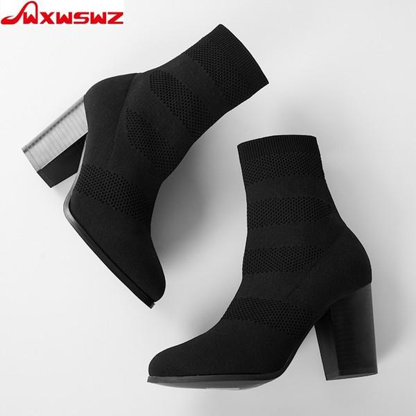el más nuevo 33e78 30633 Compre WXWSWZ Mujeres Botas Punta Redonda Botines Elásticos Zapatos De  Tacón Grueso Zapatos Mujer Mujer Calcetines Tamaño Europeo 36 41 A $47.83  Del ...