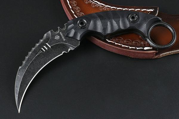 Strider Karambit Messer D2 Satin / Schwarz Stone Wash Klinge Schwarz Full Tang G10 Griff Claw Messer mit Lederscheide
