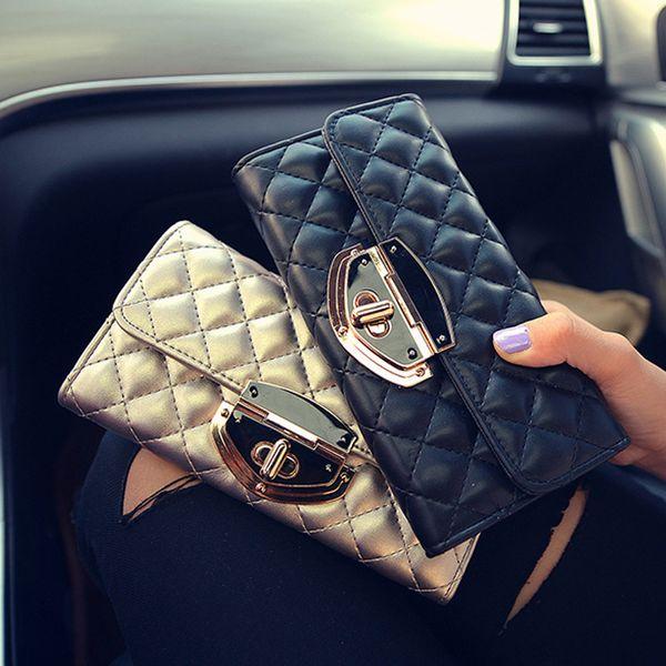 OLOEY 2019 new women's rhombic embroidered wallet purse women fashion trend long wallet large lock buckle folding