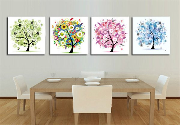 Four Seasons Trees,4 Pieces Canvas Prints Wall Art Oil Painting Home Decor (Unframed/Framed)