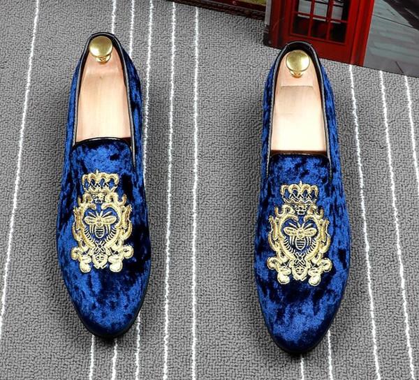 Acheter 2019 Hommes De Luxe Designer Britannique Velours Broderie Gentleman Richelieus Chaussures Homecoming Man De Mariage Prom Chaussures Zapatos