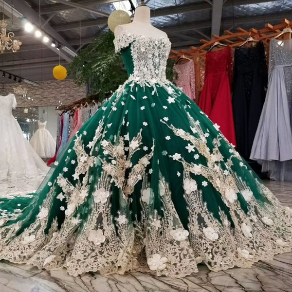 2019 Emerald Evening Dresses Sweetheart Off The Shoulder Short Sleeves Long Flowers Lace Up Back Formal Dresses Dark Green Real Photo