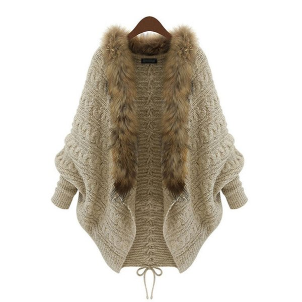 Las señoras flojas grandes más tamaño de punto cardigan largo Bat manga cuello de piel Navidad suéter mujeres abrigo Tricot Streetwear
