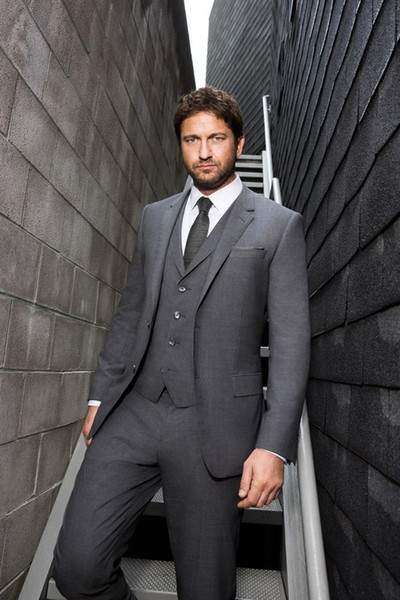 Custom Made Gray Suits Wedding for Men Blazer Suits Vintage Groom Tuxedos Groomsmen Formal Business Party 3 Pieces DEMO6519
