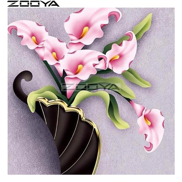vendita all'ingrosso Diamante rotondo pittura fiori rosa adesivo da parete diamante ricamo 5D fai da te immagini di strass cross-stitch kit r1690