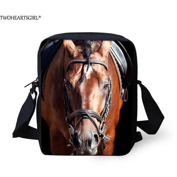 TWOHEARTSGIRL 3d Cool Horse Printing Boys Messenger Bag Student Crossbody Bag Small Kids Animal Beach Storage Handbags