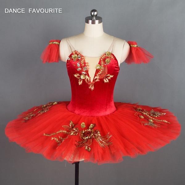 Red Velvet Mieder Pre-professional Ballett-Ballettröckchen-Mädchen-Frauen-Ballett-Ballettröckchen-Ballerina-Tanz-Kostüme