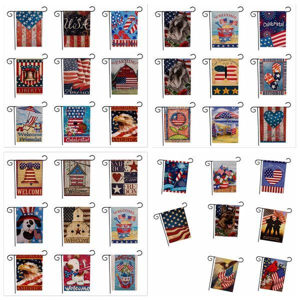 33designs USA Union Garden Flag Party Home Decor Drapeau Américain Série Modèle Double Face Garden Flag Home Pelouse Décor 47 * 32 cm FFA1929 50pcs