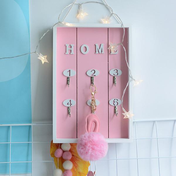 Wood crafts creative key box wall home decoration multiple key hook storage rack