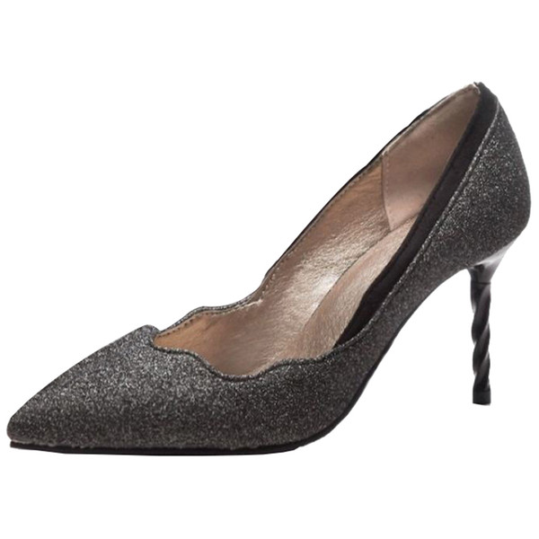 SJJH 2018 Fabric Pumps with Pointed Toe and Stiletto Elegant Working Dressy Shoes for Fashion Women with Large Size Available A326