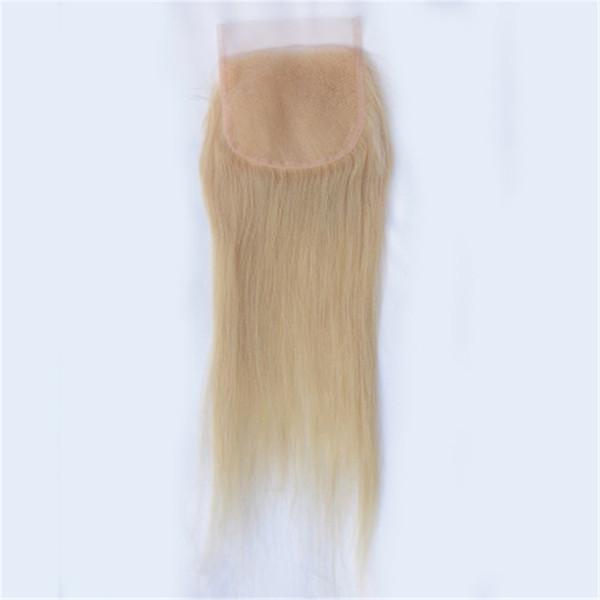613 блондинка прямо кружева закрытие перуанский Реми человеческих волос 4x4 закрытие с волосами младенца 130% плотность пинг