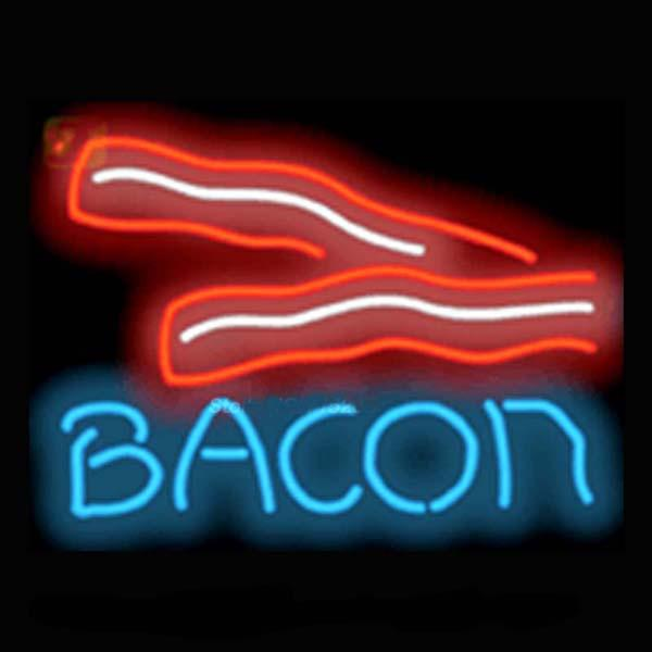 "Bacon Neon Sign Restaurant Breakfast Food Dishes Eating Advertisement Display Custom Handcrafted Real Glass Tube Neon Light Signs 17""x14"""