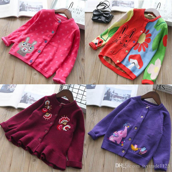 INS styles new hot selling Girl kids spring autumn long sleeve Pure cotton Cardigan rabbit elephant pattern knitted sweater for Girl