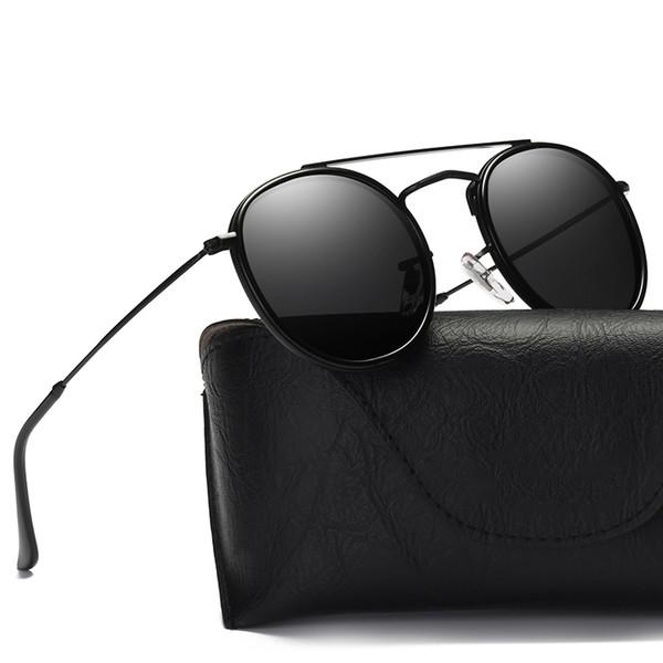 2018 neue moderne Kleid Sonnenbrille Mode runden Rahmen Sonnenbrille Beschichtung Spiegel Objektiv Damen Polarisator klare Vision
